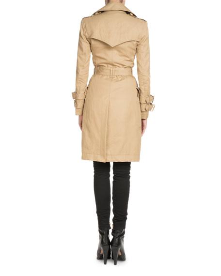 Double-Breasted Knee-Length Gabardine Trench Coat