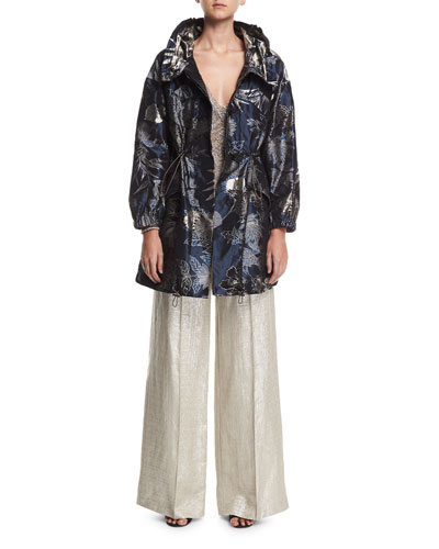 Wide-Leg Metallic Silk/Linen Pants and Matching Items