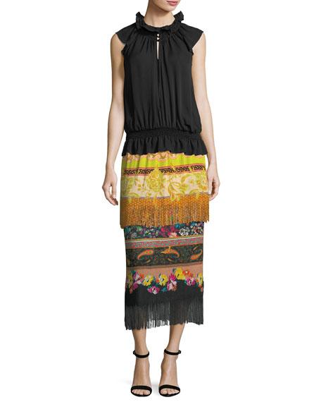 Two-Tier Knit Combo Print Fringe Skirt