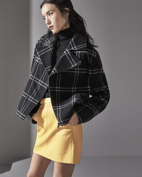 Windowpane Zip-Front Jacket