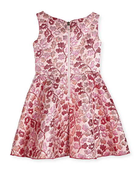 Berry Blossom Metallic Brocade Swing Dress, Size 2-6X