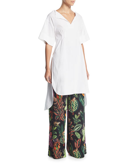 Half-Sleeve Split-Neck Gathered-Back Poplin Tunic Blouse