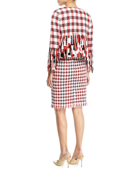 Open-Front Houndstooth Tweed Jacket with Paillettes