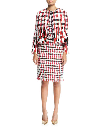 Open-Front Houndstooth Tweed Jacket with Paillettes and Matching Items