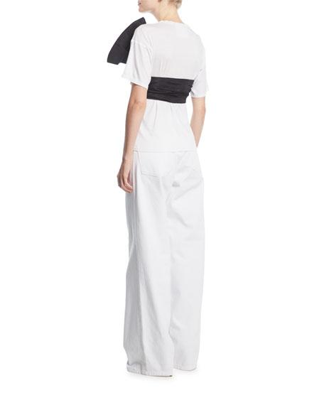 Crewneck Cotton T-Shirt w/ Front Bow Sash