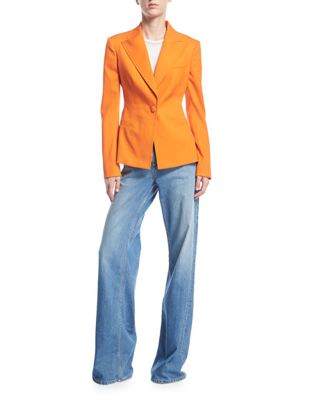 One-Button Stretch-Wool Gabardine Jacket