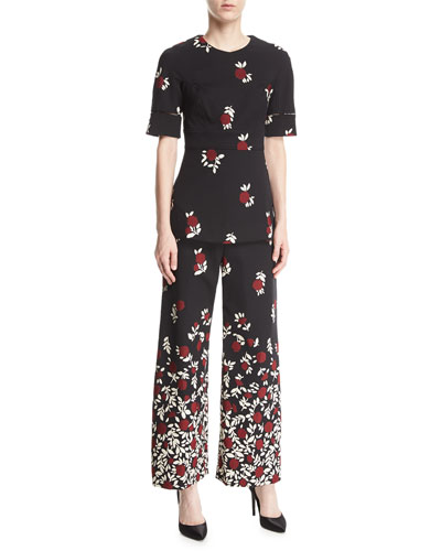 Wide-Leg Degradé Floral Pants and Matching Items
