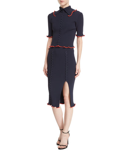 Collared Crisscross Short-Sleeve Rib-Knit Top and Matching Items