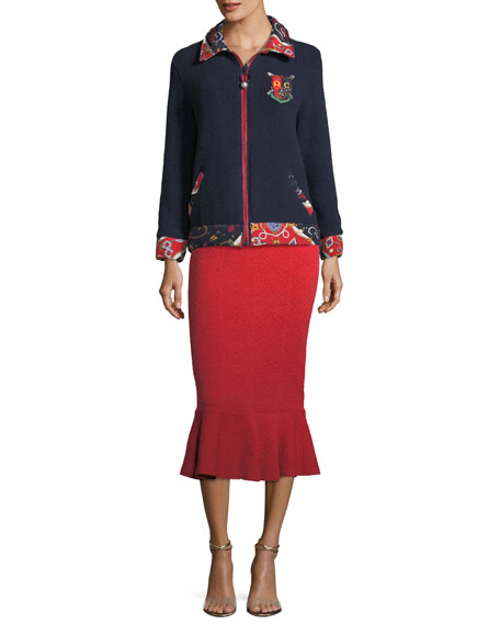 Sorority-Print Reversible Zip-Front Knit Jacket