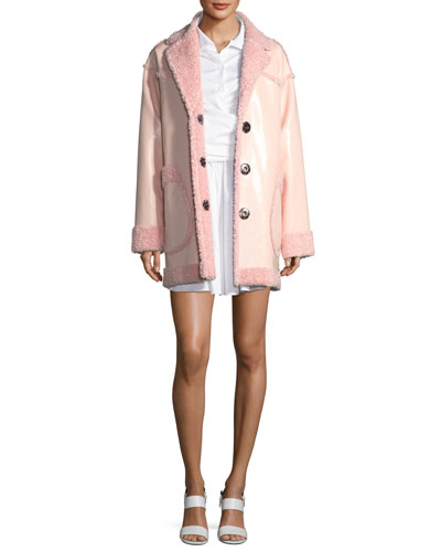 Reversible Furry Patent Coat and Matching Items