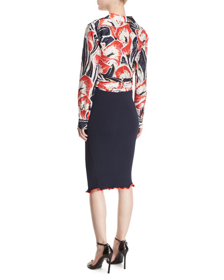 Lily Wrap-Front Floral-Printed Silk Shirt