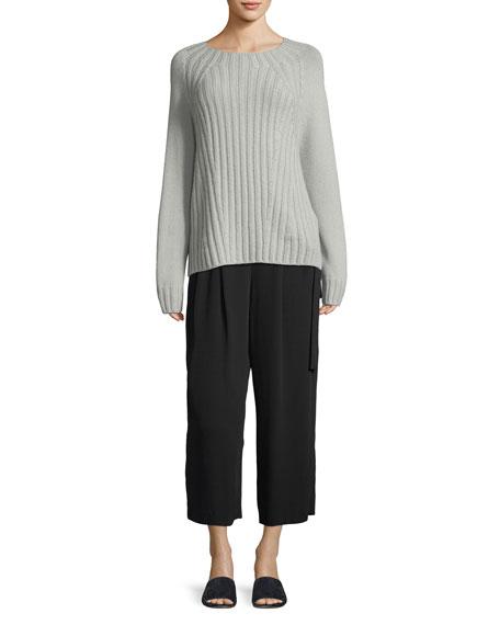Raglan Ribbed Crewneck Wool-Cashmere Pullover Sweater