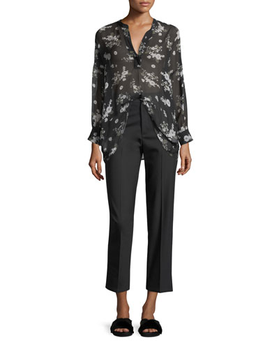 Tossed Floral-Print Shirred Sheer Silk Blouse and Matching Items