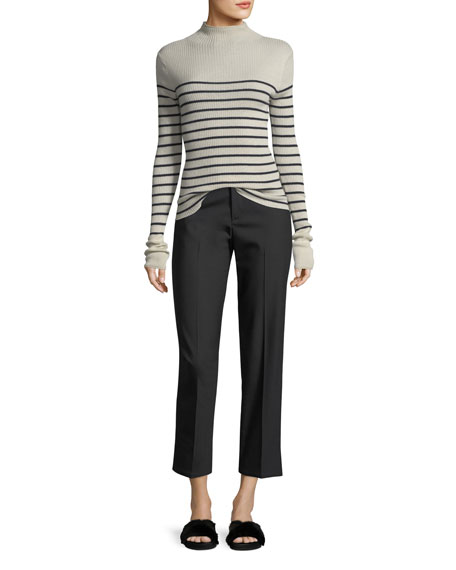 Striped Mock-Neck Cashmere Sweater