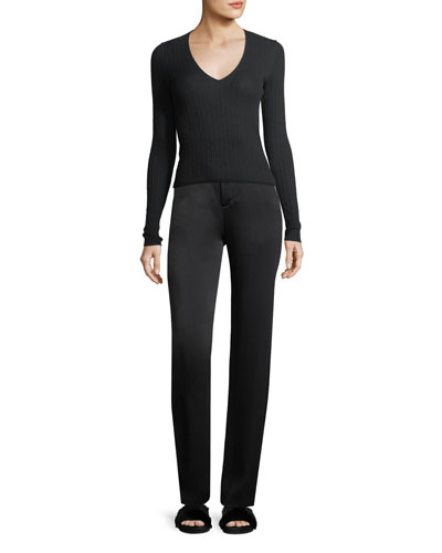 Mixed Rib V-Neck Cashmere Sweater and Matching Items