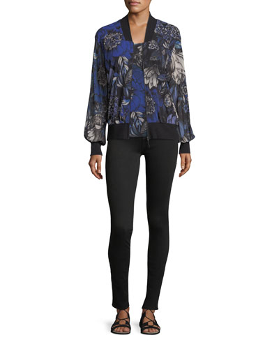 Marine Floral-Print Bomber Jacket  and Matching Items