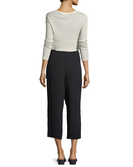 Belted Crepe Culotte Pants