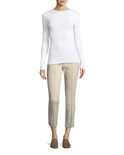 Stitch-Front Straight-Leg Cropped Pants and Matching Items