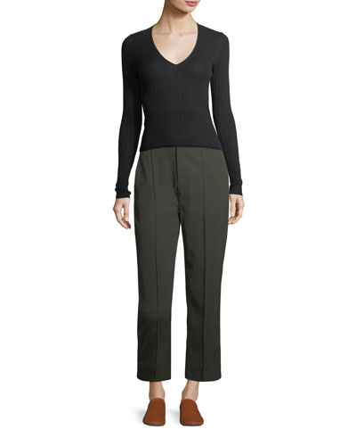 Stitch-Front Straight-Leg Crop Pants and Matching Items