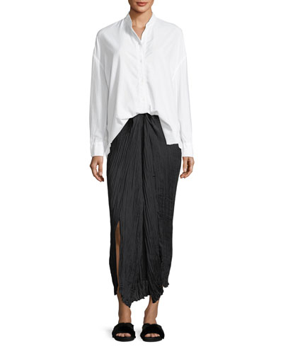 Pleated Tie-Front Maxi Skirt  and Matching Items