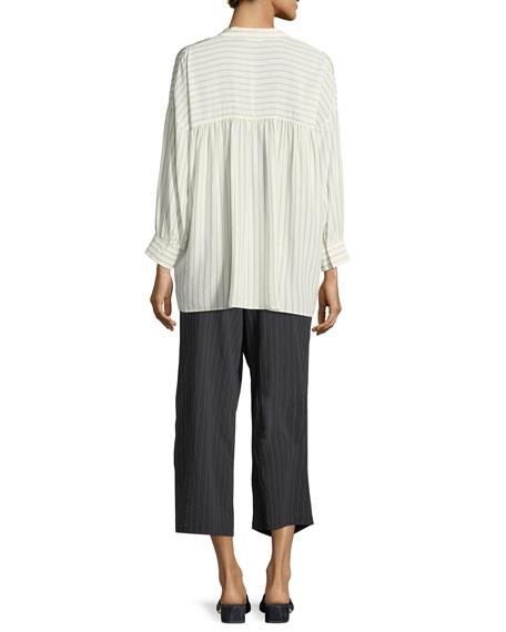 Pinstripe Drawstring Wide-Leg Crop Pants