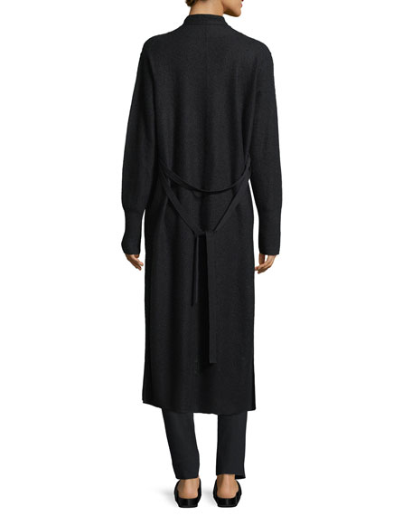 Side-Slit Long Cashmere Robe Cardigan