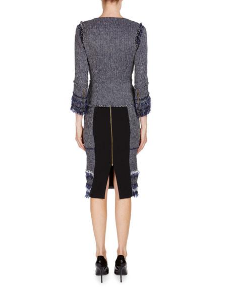 Riseley Sleeveless Tweed Dress W/ Mesh Insets
