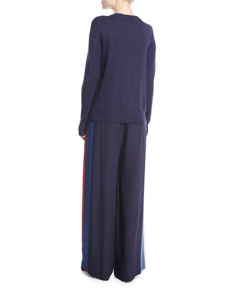 Striped Wide-Leg Track Pants, Multicolor