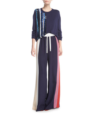 Striped Wide-Leg Track Pants, Multicolor and Matching Items