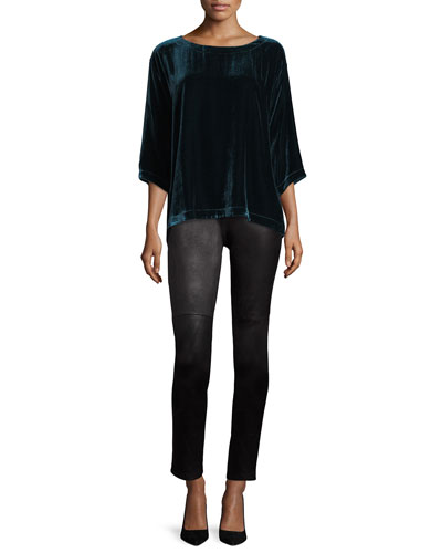 Ponte Leather-Blocked Leggings, Petite and Matching Items