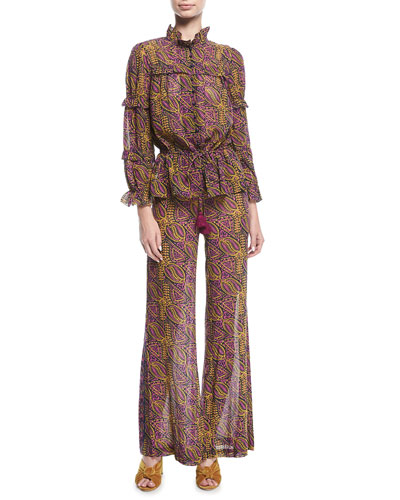 Zola Wallpaper-Print Tassel-Tie Cotton Crepe Blouse and Matching Items