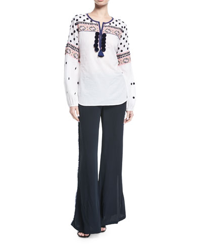 Savanah Long-Sleeve Embroidered Cotton Blouse w/ Pompom Trim and Matching Items