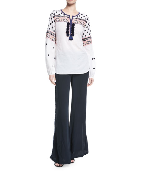 Savanah Long-Sleeve Embroidered Cotton Blouse w/ Pompom Trim