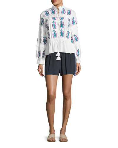 Cassia Flat-Front Tux-Detail Crepe de Chine Shorts and Matching Items