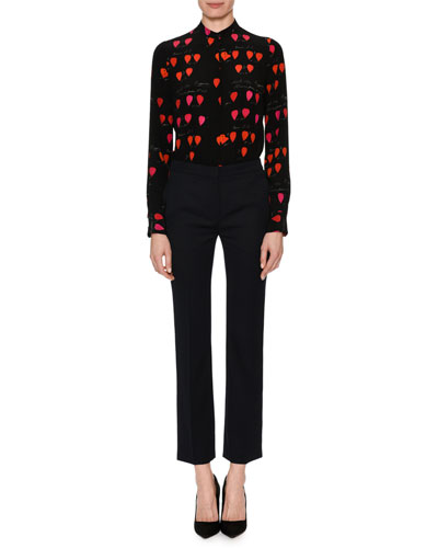 High-Neck Button-Front Petal-Print Silk Blouse and Matching Items