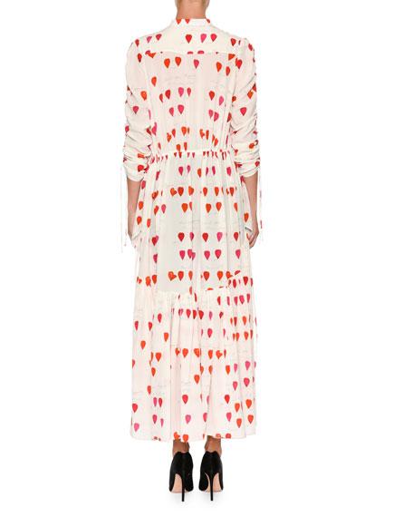 Petal-Print Drawstring High-Low Silk Blouse