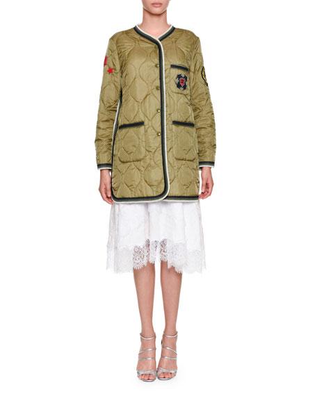 Sleeveless Lace Poplin Midi Dress