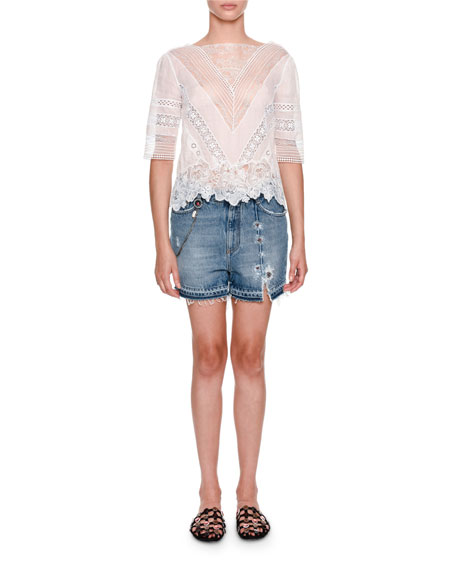 Elbow-Sleeve Sheer Blouse with Lace Inset
