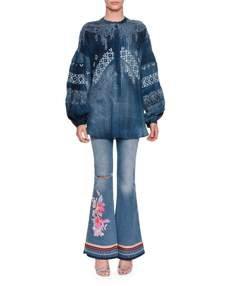 Low-Rise Faded Denim Flared-Leg Jeans with Floral-Embroidery