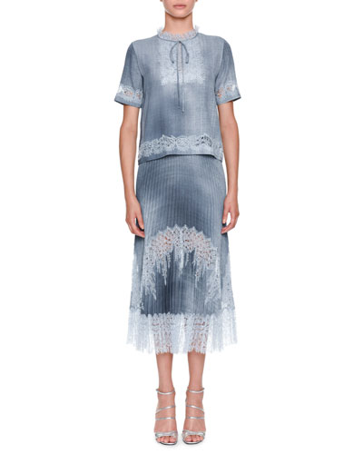 Short-Sleeve Tie-Neck Denim Blouse with Lace and Matching Items