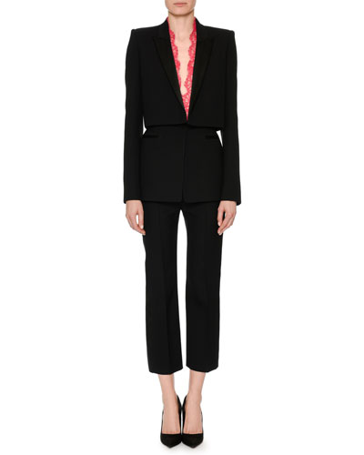 High-Waist Wool-Silk Cropped Tux Pants and Matching Items