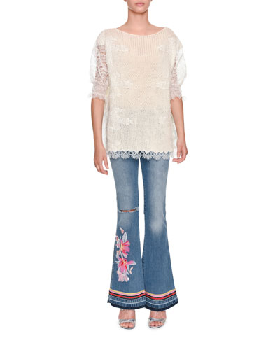 Low-Rise Faded Denim Flared-Leg Jeans with Floral-Embroidery and Matching Items
