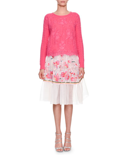Floral-Embroidered Organza Skirt and Matching Items