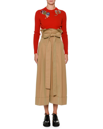 Paperbag-Waist Wide-Leg Culotte Ankle Pants and Matching Items