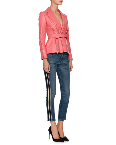 Skinny-Leg Side-Stripe Cropped Jeans and Matching Items