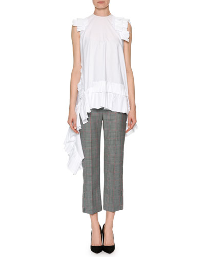 Slim-Fit Straight-Leg Patchwork Plaid Ankle Pants and Matching Items