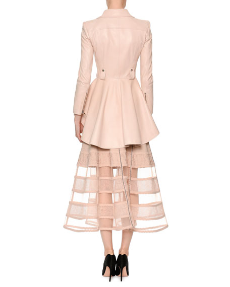 Patchwork Jacquard Lace Skirt with Crinoline Hem