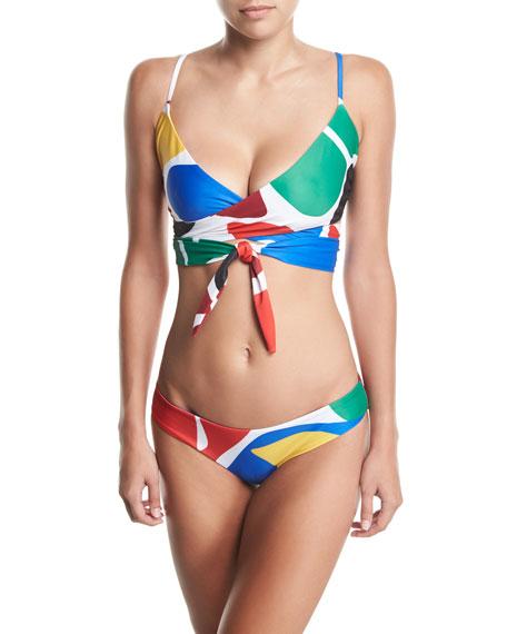 Mila Printed Wrap Swim Top