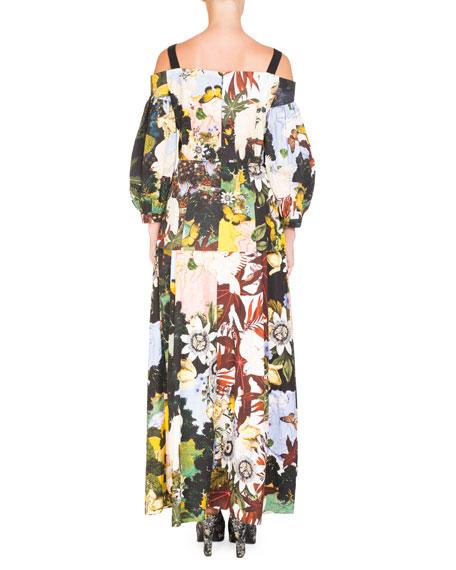 Off-the-Shoulder Bishop-Sleeve Garden-Print Cotton Blouse
