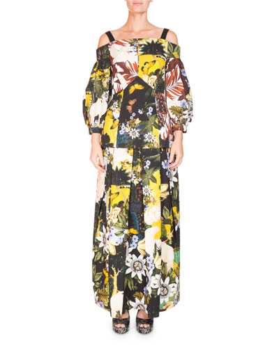 Elena Garden-Print Full A-Line Ankle-Length Skirt and Matching Items